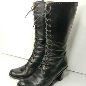 Kenneth Cole Boots 7 1/2 Tall Black Leather Lace